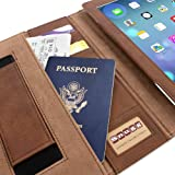 Snugg iPad 2 Executive Leather Case in 'Distressed' Brown - Flip Stand Cover with Card Slots, Pocket, Elastic Hand Strap and Premium Nubuck Fibre Interior - Automatically Wakes and Puts the Apple iPad 2 to Sleep