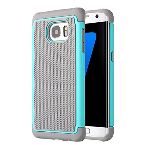 Galaxy S7 Edge Case , UBWH Dual Layer Shockproof Rubber shell Hybrid Impact Defender Back Case Cover For Samsung Galaxy S7 Edge (Light Blue) (Samsung Dart Case compare prices)