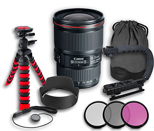 Canon EF 16-35mm f/4L IS USM Lens + Original Canon Lens Hood EW-82 + Original Canon Lens Bag + 3 PC Filter Kit + Tripod + Scorpion Grip + Cap Keeper (Canon Ef 16 35 F4 compare prices)