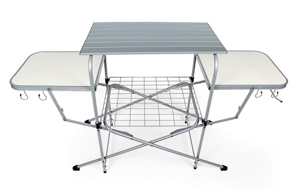 Portable deluxe folding grilling outdoor cooking table camping picnics patio bbq ebay - Table retractable cuisine ...