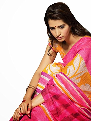 Aasri Women Dupion Silk Designer Pink Wedding Saree with Blouse Piece