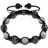 Iced Out 10mm Black and White Beaded Adjustable Bracelet + Gift Box