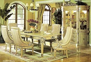 7 Pc Antique White Wash Wood Artemis Collection Dining Room Tabl