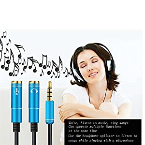 Headset Adapter Y Splitter 3.5mm Jack Cable with Separate Mic and Audio Headphone Connector Mutual Convertors for Gaming Headset, PS4, Xbox One, Notebook, Mobile Phone and Tablet 30CM / 12 Inch
