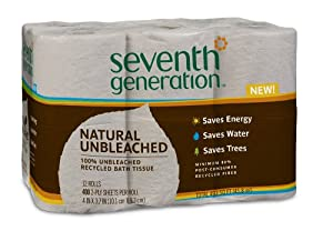 Seventh Generation Unbleached Bathroom Tissue Roll, 12 Count (Pack of 4)