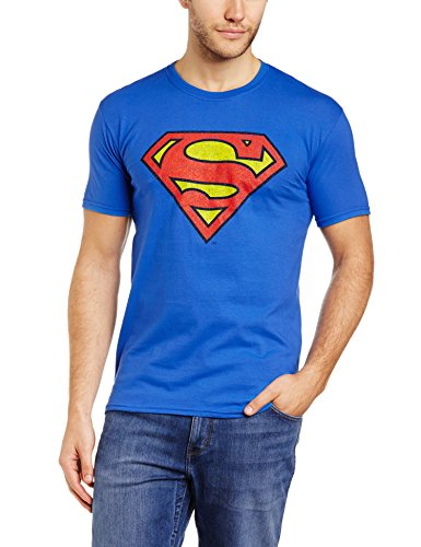 Men's Official Retro Blue Superman Logo T-shirt, Royal Blue