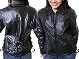Women's Nice Biker Fitted Cow Hide Leather Jacket - Black