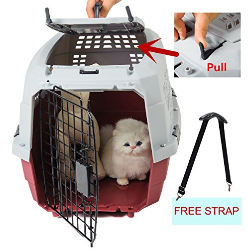 Favorite® 23 Inch by 15.5 Inch by 10.5 Inch Two Door Portable Dog Crate/Top Load Pet Carrier/Top Entry Outdoor Kennel for Medium Dogs/Cats Car Travel/Vet Visit, Free Strap, Grey Lid & Red Base