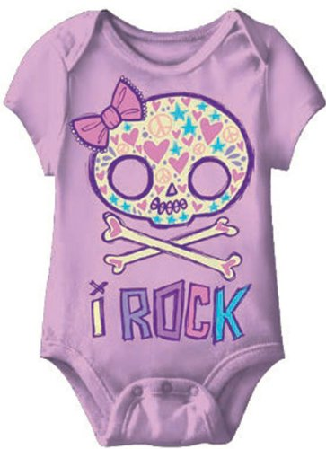 Kiditude I Rock Girly Skull Punk Baby Onesie, Purple