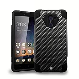 ZTE Max Duo LTE Z963VL / Z962BL - [Carbon Fiber] Dual Armor Kickstand Case, Premium USB Type-C to Type-A Cable, Tempered Glass Screen Protector, Atom LED