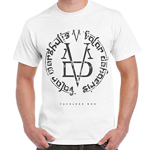 CHEMAGLIETTE! - T-Shirt Game Of Thrones Faceless Man Valar Morghulis Trono Di Spade Maglietta, Colore: Bianco, Taglia: M