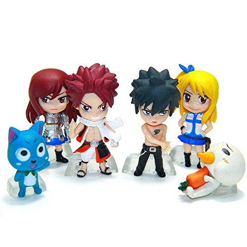Fairy Tail 6 Piece Figures Figure Set Natsu Dragneel Bonne Ezra Scarlet Gris Fullbuster Lucy Heartfilia Pue Nokora