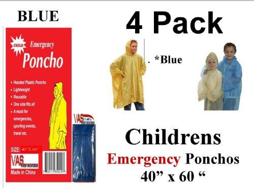 4-VAS-Childrens-40-X-60-Emergency-Child-Kid-Rain-Poncho-BLUE
