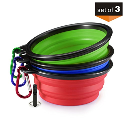 FORE-Outdoor-Collapsible-Pet-Bowl-For-PuppyDog-with-Carabiner-and-Whistle-Set-of-3