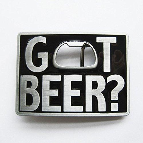"""""""Got Beer?"""" Metal Bottle Opener Belt Buckle"""