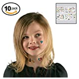 Temporary Tattoos (Set of 10 Sheets) - Removeable Tattoo Art Body Painting for Kids Women Adults- Best for Party Favors