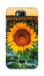 Amez designer printed 3d premium high quality back case cover for Huawei Honor Bee (Sunflower field sunset)