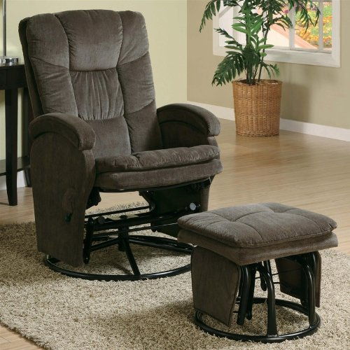 Modern Swivel Gliding, Rocking Recliner Chair With Metal Ottoman