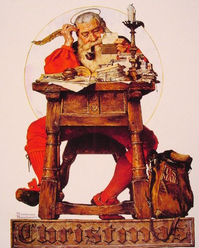 Christmas Santa Reading Mail by Norman Rockwell