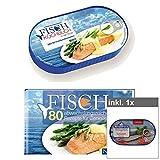 Fischkochbuch in der Dose, Metallbox mit Stülpdeckel inkl. 1 Dose Heringsfilets in Tomatensoße