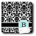 3dRose LLC 8 x 8 x 0.25 Inches Mouse Pad, Letter B Personal Monogrammed Mint Blue Black and White Damask Pattern Classy Personalized Initial (mp_154351_1)