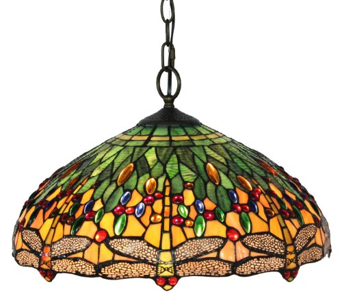 Ideal  Lighting AMHL Tiffany Style Dragonfly Pendant Lamp Inch