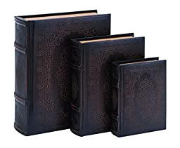 Deco 79 Smooth Leather Book Box Set with Floral Decoration
