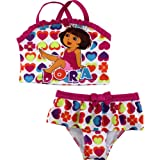 "Nick Jr. Dora the Explorer ""Rainbow Hearts"" Pink Tankini 2pc Swimsuit 2T-4T"