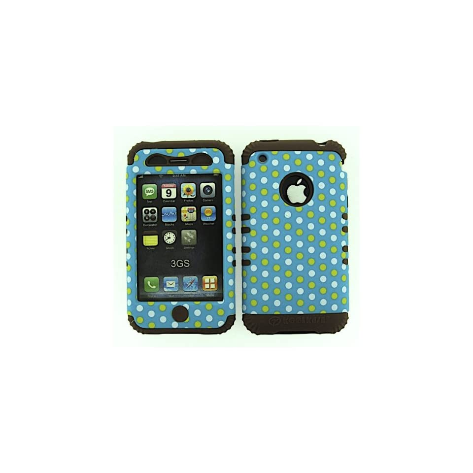 3 IN 1 HYBRID SILICONE COVER FOR APPLE IPHONE 3G 3GS HARD CASE SOFT BROWN RUBBER SKIN POLKA DOTS CF TE432 KOOL KASE ROCKER CELL PHONE ACCESSORY EXCLUSIVE BY MANDMWIRELESS Cell Phones & Accessories
