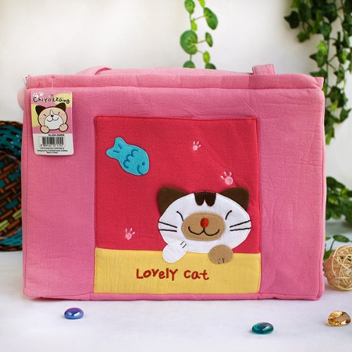 [Lovely Cat] Embroidered Applique Fabric Art Shoulder Tote Bag / Shopper Bag (12.2*8.4*4.4)