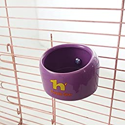 Purple Star Ceramic Coop Cup Bird Parrot Pet Cage Aviary Water Food Bowl Feeder