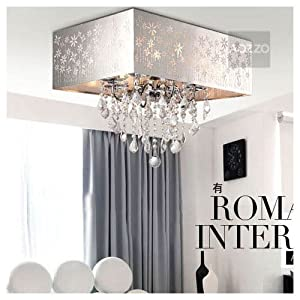 Stainless Steel Lampshade Crystal Hanging Living Room Ceiling Li