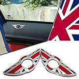 MINI COOPER 2 X DOOR LOCK PIN KNOB EMBLEM BADGES STICKER SET OF 2 (Union Jack Red)