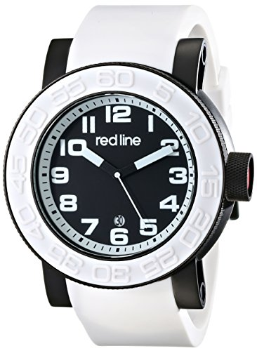 Red Line Men's Xlerator 52mm White Silicone Band IP Steel Case Quartz Black Dial Watch 50051-BB-01-WAS