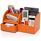 KINGOM? 7 Storage Compartments Multifunctional PU Leather Office Desk Organizer,Desktop Stationery Storage Box Collection, Business Card/Pen/Pencil/Mobile Phone /Remote Control Holder Desk Supplies Organizer (Orange)
