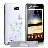 Butterfly Flower Hard Hybrid Case Cover For The Samsung Galaxy Note White Silver With Screen Protector Filmby Yousave