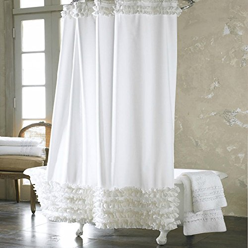 Uphome 72×72 Inch Solid White Ruffles Shower Curtain Shower Curtain Liner Water Repellent Mildew-Free Polyester Fabric Bathroom Curtain - Beautiful and Practical With 12 No Rust Metal Hooks (White Shower Curtain With Ruffles compare prices)