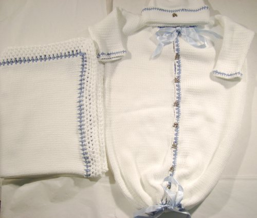 Knitted on Hand Knitting Machine White Cotton