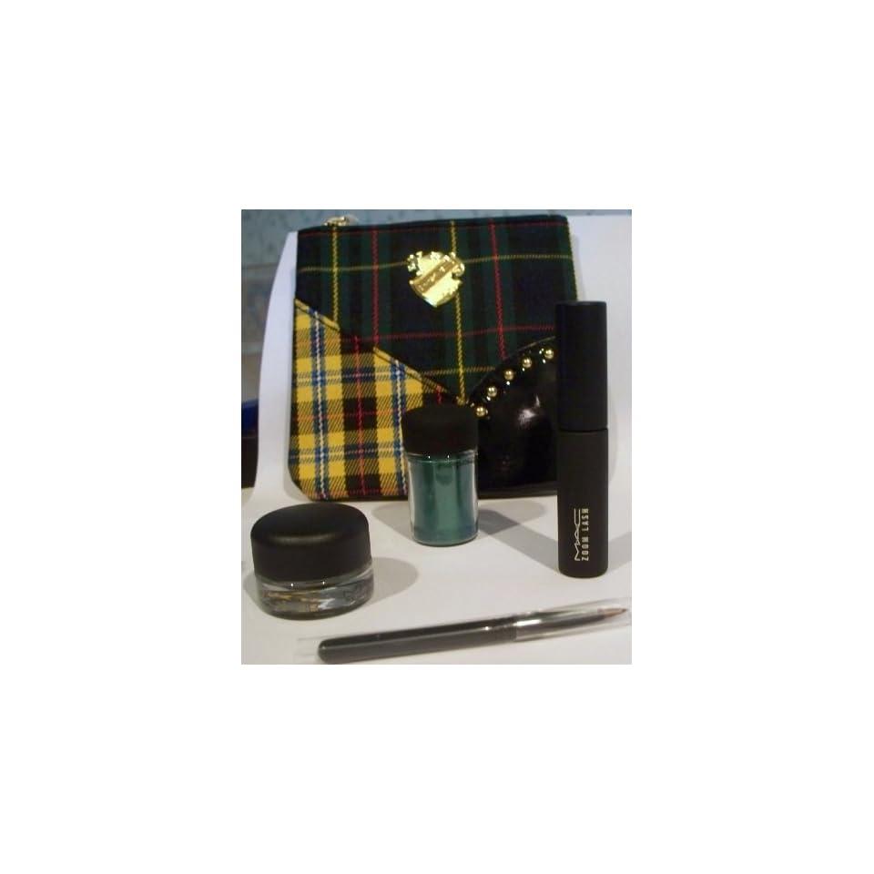 MAC 5 Piece Makeup Set   Travel Bag, Eyeliner, Pigment Color, Zoomlash Mascara & Brush