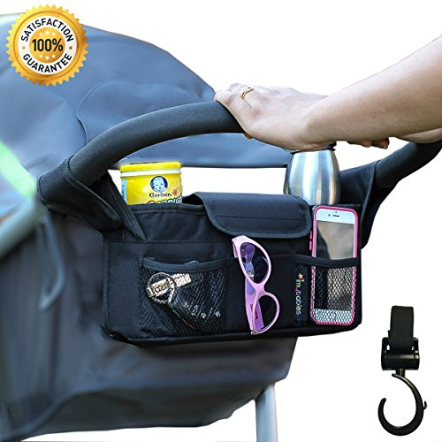 Stroller Organizer With Stroller Hook, Baby Cup Holders & Accessories Bag, Universal Stroller Bag, Baby organizer, Baby Accessories, Stroller Diaper bag, umbrella stroller organizer (Black) (Pushing Cycle For Toddlers compare prices)
