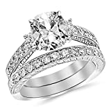 GIA Certified 1.70 Carat Cushion Cut/Shape 14K White Gold Three Stone Vintage With Milgrain & Filigree Bridal Set with Wedding Band & Diamond Engagement Ring with a 0.70 Carat, E Color, VVS2-VS1 Clarity Center Stone