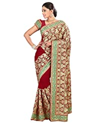 Designer Eyecatchy Maroon Colored Embroidered Faux Georgette Saree By Triveni