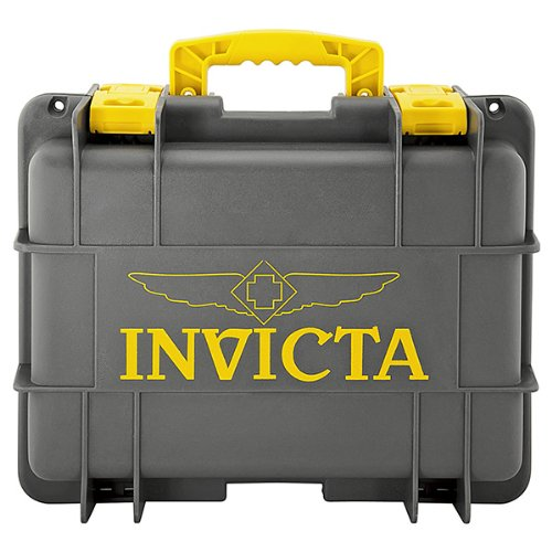 Invicta Eight Slot Collectors Box in Yellow and Grey DC8GREY-YEL