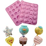 AMOS Silicone Non Stick Assorted Shapes Cake Pop Set 20 Hole Baking Tray Mould Kids Birthday Party Cookware with 20 Sticks