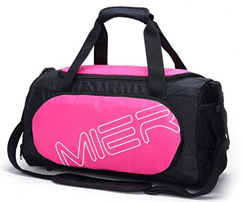 MIER sportivo medio Borsone borsa da viaggio Duffle con le scarpe Vano per uomini e donne (rosa)