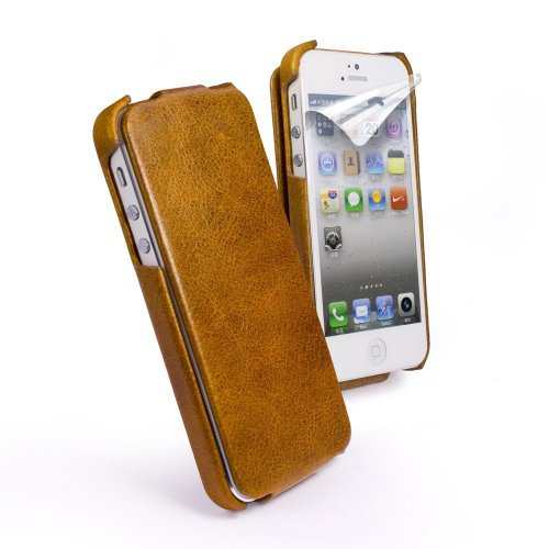 Special Sale Tuff-Luv Vintage Leather Collection Tuff-Grip Case Cover for iPhone 5 / 5s (Free Screen Protector) - Brown