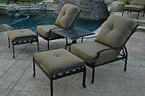 Hot Sale Heritage Outdoor Living Santa Monica Cast Aluminum 5pc Club Chair SQ Table - Antique Bronze