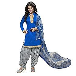Z HOT FASHION Women's Printed Unstitched Salwar Suit Material Cotton In Fabric (RHRN1004) Blue