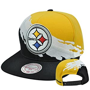 NFL Mitchell Ness NG83Z MT1 Pittsburgh Steelers Paintbrush Wool Snapback Hat Cap by Mitchell & Ness