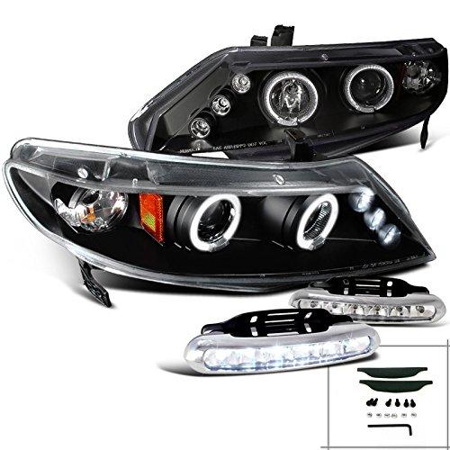 Honda Civic 4dr Halo Rim Projector Headlights+Driving LED Fog Lamps Black (Black Rims For Honda Civic compare prices)